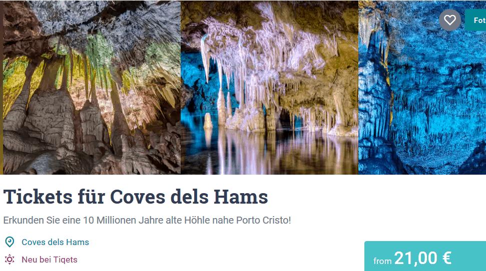 Coves dels Hams Tagesrundreise nur 21,00€ Mallorca Tropfsteinhöhle