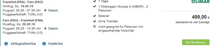 Fly & Drive vom Reiseveranstalter Olimar Deal ab 249,50€ - Screenshot