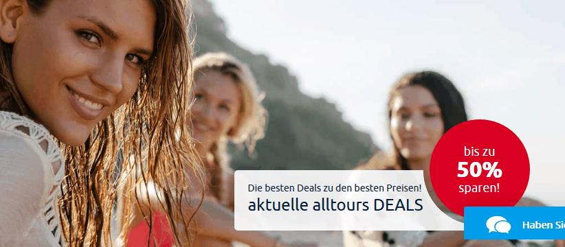 Screenshot Alltours Deals bis zu 50% Reduziert Urlaubs Sale
