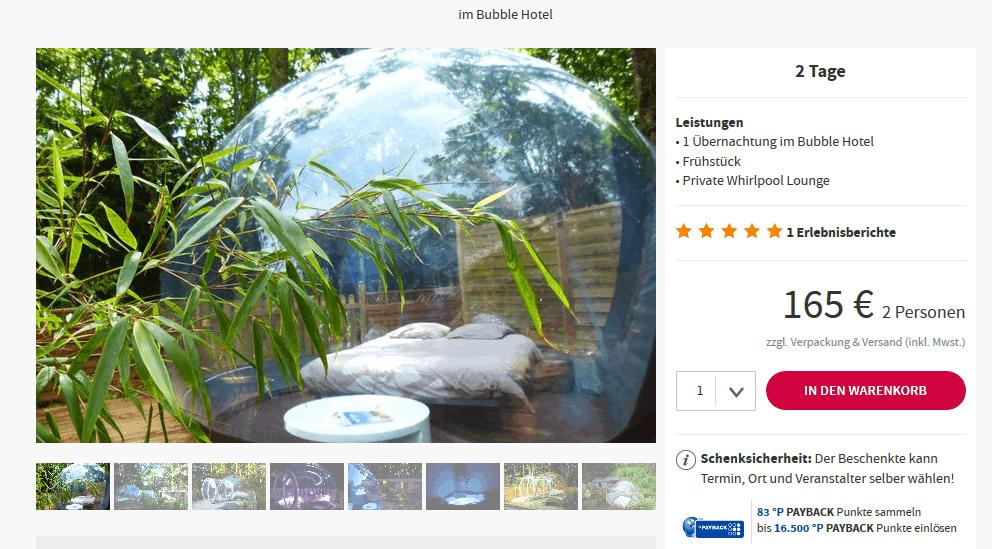 Screenshot Deal Bubble Hotel Dournazac ab 82,50€ p.P außergewöhnlich Übernachten