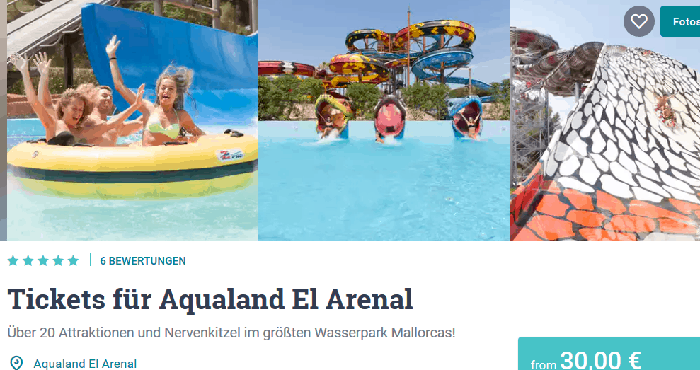 Screenshot Deal El Arenal Aqualand Mallorca nur 30,00€ das Ticket