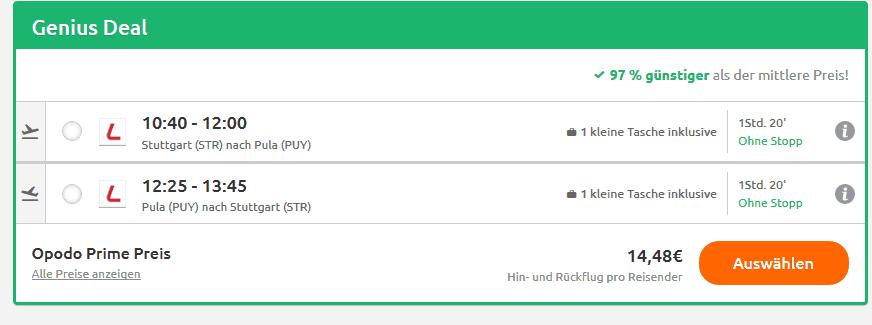 Screenshot Deal Flug nach Istrien nur 14,98 Hin & Zurück