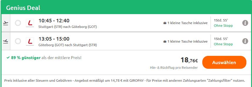 Screenshot Deal Göteborg Flug nur 18,76€ Hin- & Rückflug nach Schweden
