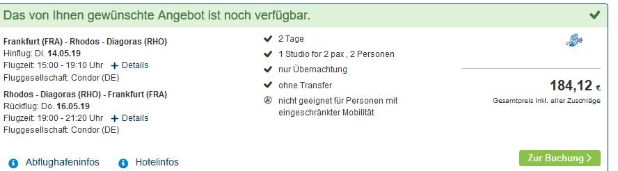 Screenshot Deal Kaliteha Urlaub in Rhodos nur 93,00€ - Auszeit in Falikraki