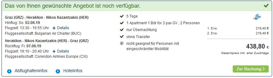 Screenshot Deal Kreta 4 Sterne Deal - nur 220,00€ Flug & Hotel