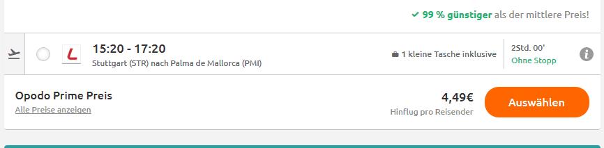 Screenshot Deal Mallorca Flug nur 4,49€ mit LAUDAMOTION Billig Flüge