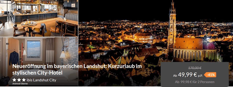 Screenshot Deal Städtereise Landshut - Hotel nur 49,99€ Kurzurlaub in Bayern