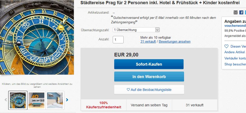 Screenshot Deal Städtereise Prag ganze Familie nur 29,00€