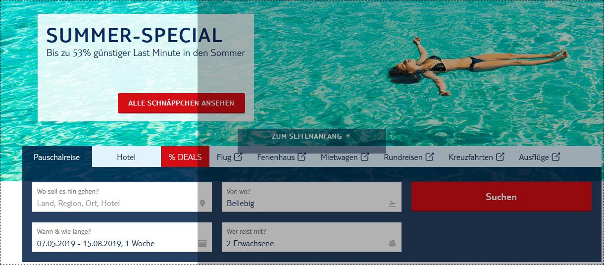 Screenshot Deal TUI Summer Special Deals bis zu 53% Rabatt Last Minute