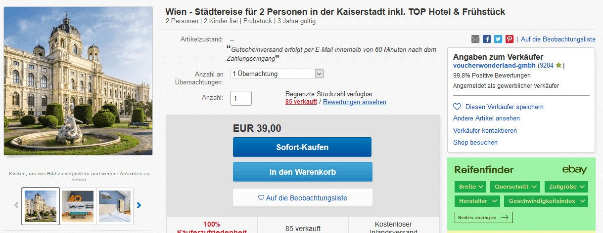 Screenshot Deal Wien - Städtereise gesamte Familie nur 39,00€ Kaiserstadt