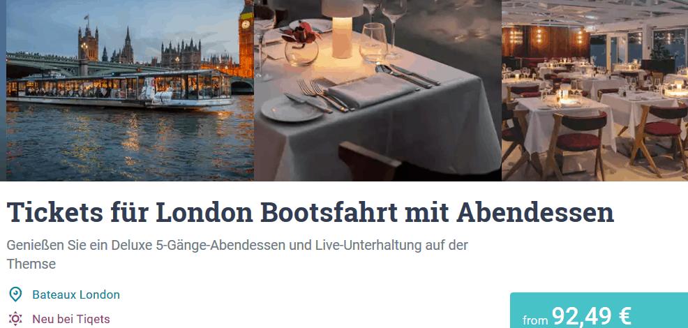 Tickets für London Bootsfahrt mit Abendessen Tiqets