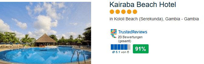 5 Sterne Gambia Urlaub im Kairaba Beach Hotel in Serekunda