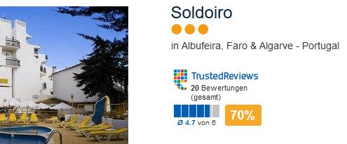 Die günstigste Pauschalreise geht nach Albufeira in das drei Sterne Hotel Soldoiro