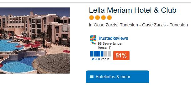 Günstigste Pauschalreise mit mindestens 4 Sterne Hotel an der Oasze Zarzis