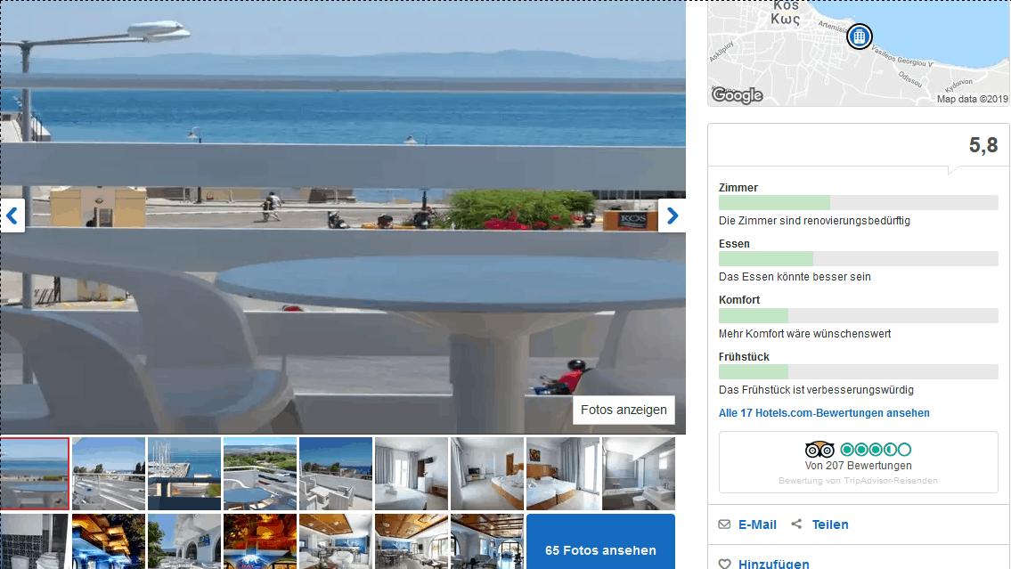 Kos Hotel direkt im Zentrum von Kos Stadt - Screenshot