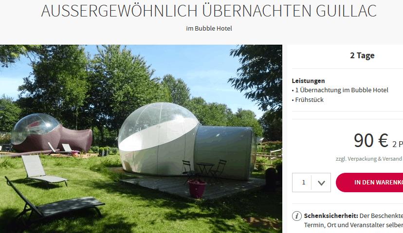Screenshot Deal Bubble Hotel Guillac - nur 45,00€ p.P Außergewöhnlich Übernachten