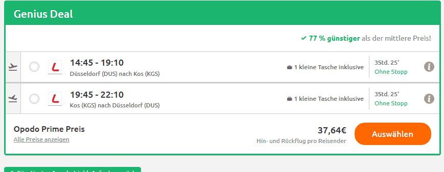 Screenshot Deal Kos Flug - eine Woche ab 44,00€ Last Minute Deal
