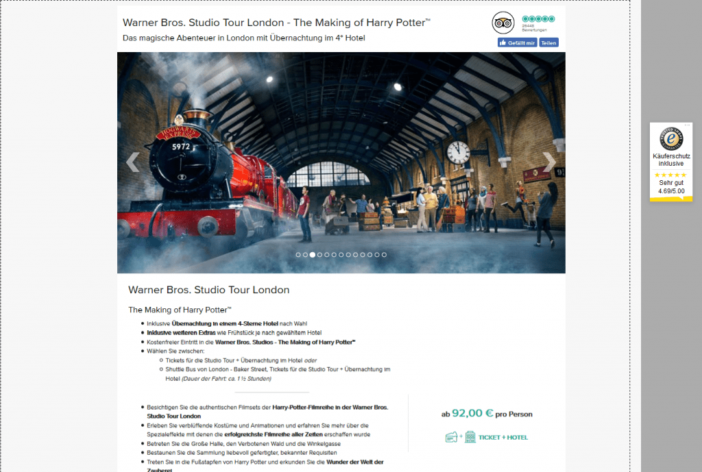 Screenshot Deal The Making of Harry Potter - Tour ab 92,00€ London Städtereise