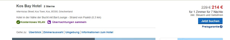 Screenshot Hotels Deal - Direkte Lage im Zentrum das Hotel in Kos Stadt mit Meerblick