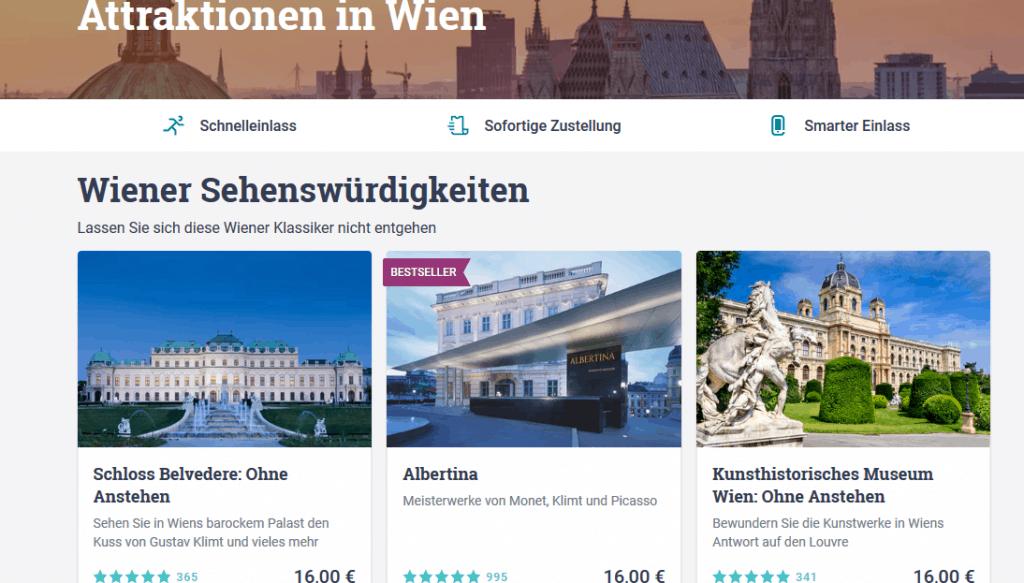 Städtereisen in Wien - Tour Karten für Sehenswüridgkeiten - Screenshot