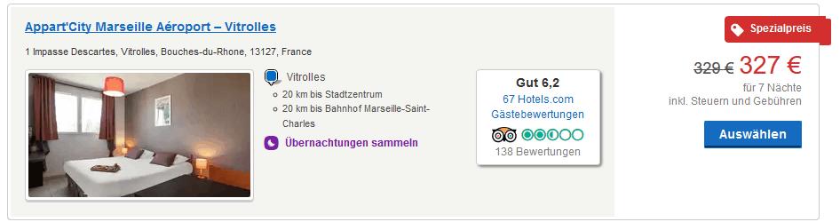 163,50€ für eine Woche Hotel in Marseille pro Person - Screenshot