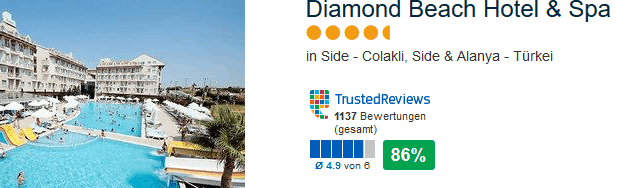 Diamond Beach Hotel & Spa 5 Sterne Hotel bei Colakil in Side