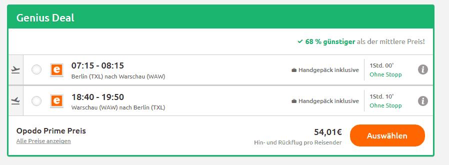 Flug Screenshot Deal Warschau Städtereise - nur 54,48€ Polen Urlaub