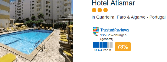 Hotel Atismar drei Sterne Quarteira bei Faro in der Algarve - Sküste Portugals