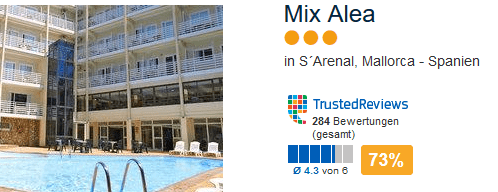 Mix Alea drei Sterne Hotel in Arenal - am Playa de Palma 73% weiterempfehlung