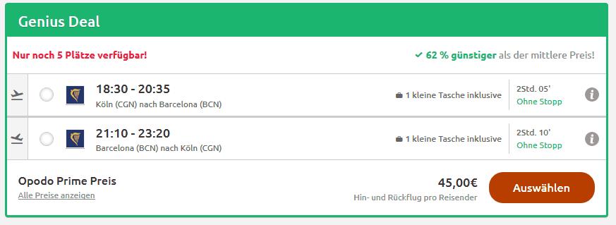 Screenshot Deal Barcelona Städtetrip - ab 46,00€ Eine Woche