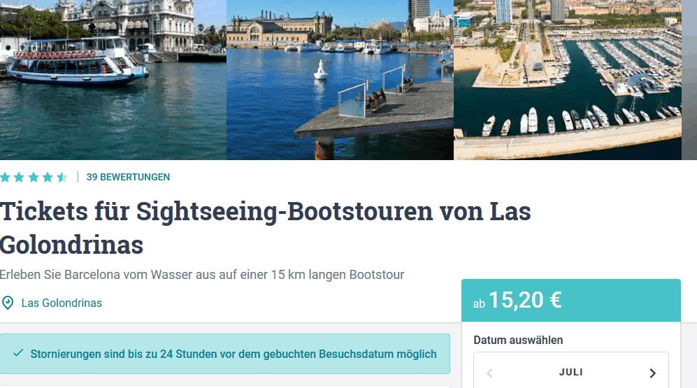 Screenshot Deal Bootstour Barcelona nur 15,20€ - Placa Portal de la pau Karte
