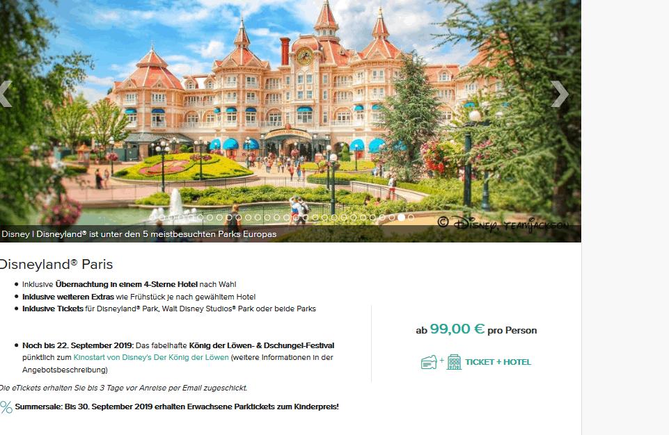Screenshot Deal Disneyland Paris Deal - nur 99,00€ Tickets & Hotel