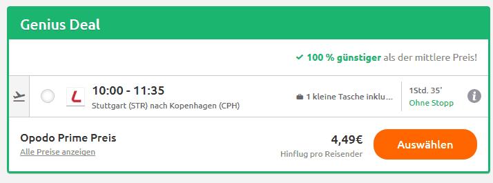 Screenshot Deal Flug nach Kopenhagen nur 4,49€ - Städtereise Dänemark