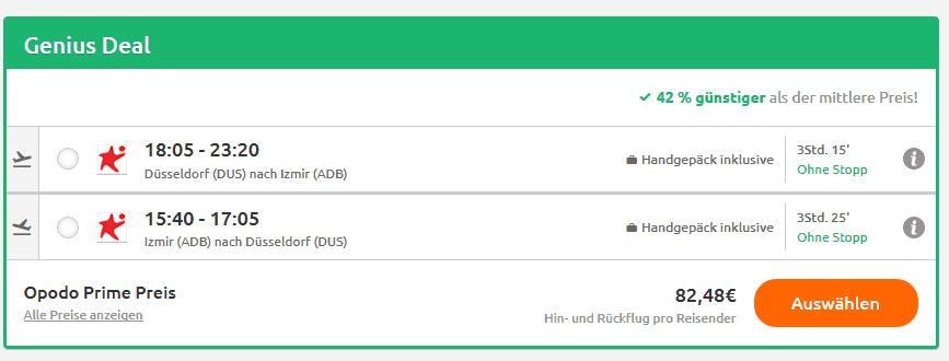 Screenshot Deal Izmir Flug - nur hin & zurück 82,48€ Türkei Flüge Billig