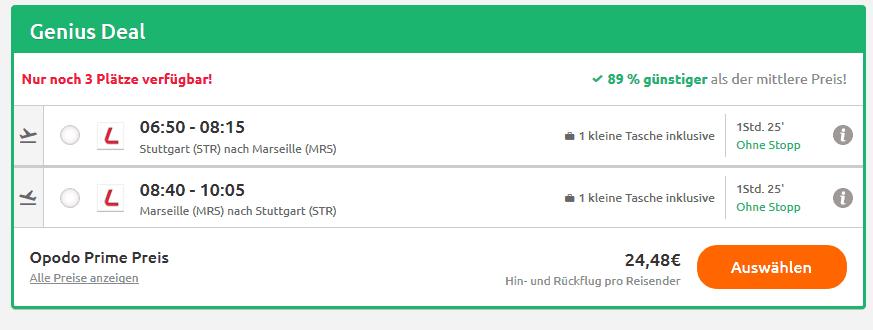 Screenshot Deal Marseille Urlaub zum Tiefpreis - Flüge ab 24,48€ Frankreich