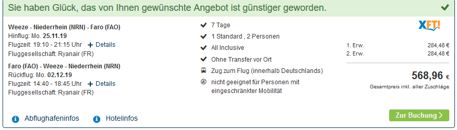 Screenshot Deal Quarteira Urlaub nur 284,48€ - All Inclusive Pauschalreise