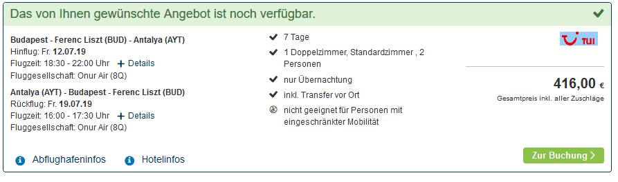 Screenshot Deal Side Last Minute Deal - 1 Woche nur 208,00€ Türkei Urlaub