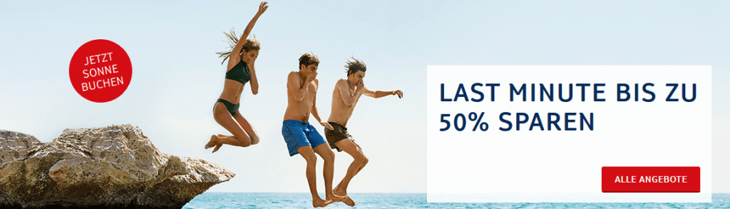Screenshot Deal TUI Last Minute Urlaub Deals 50 % im Sale