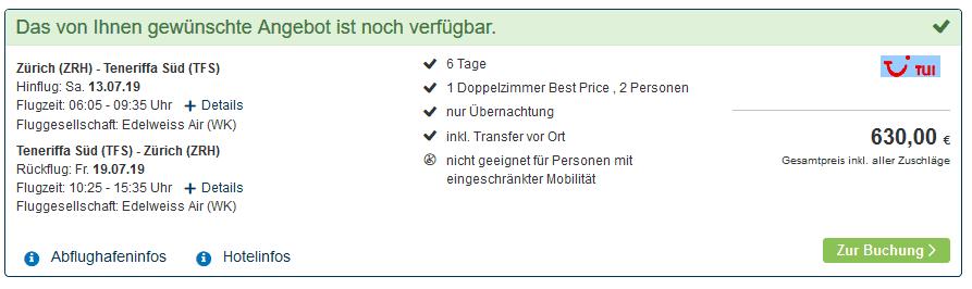 Screenshot Deal Teneriffa Last Minute Deal - nur 330,00€ Kanaren