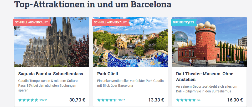 Sightseeig Barcelona Tickets für - Touren, Einlass, Bootsfahrt .. Screenshot