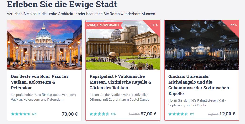 Tickets Rom für Touren - Screenshot Deals