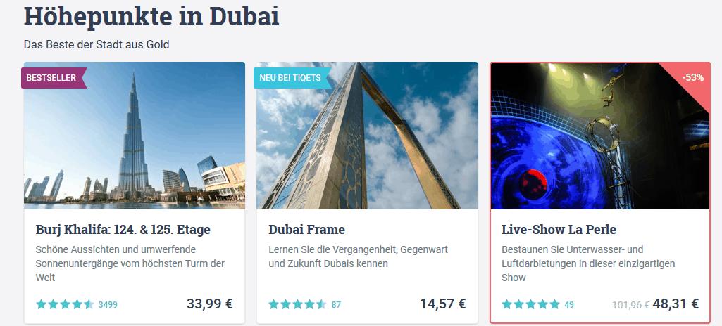 Tickets in Dubai für Touren & Sehenswürdigkeiten wie Burj Khalifa & co. - Screenshot