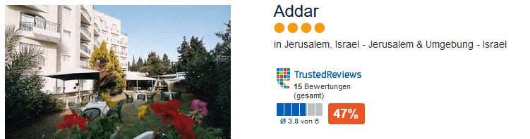Adar 4 Sterne Hotel in Isreal direkt in der Stadt Jerusalem
