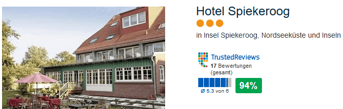 Drei Sterne Spiekeroog Hotel mit über 93% positiven Bewertungen