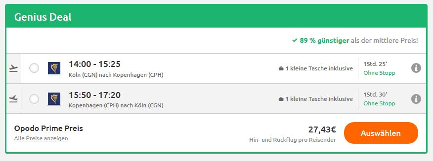 Flüge Köln Kopenhagen hin und zurück - Screenshot