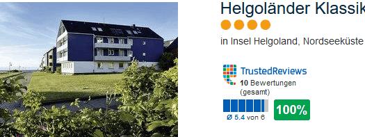 Helgoländer Klassik 100 % positive Bewertung im drei Sterne Hotel