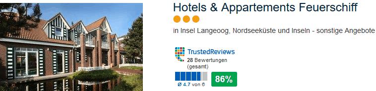 Hotels & Appartements Feuerschiff drei Sterne und 86% positive Bewertungen