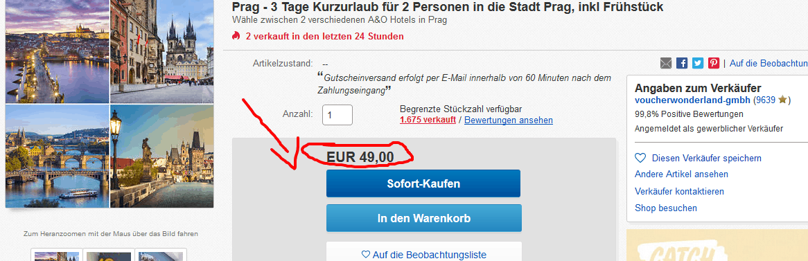 Screenshot Deal A & O Hotel Prag - nur 12,50€ die Nacht inkl. Frühstück