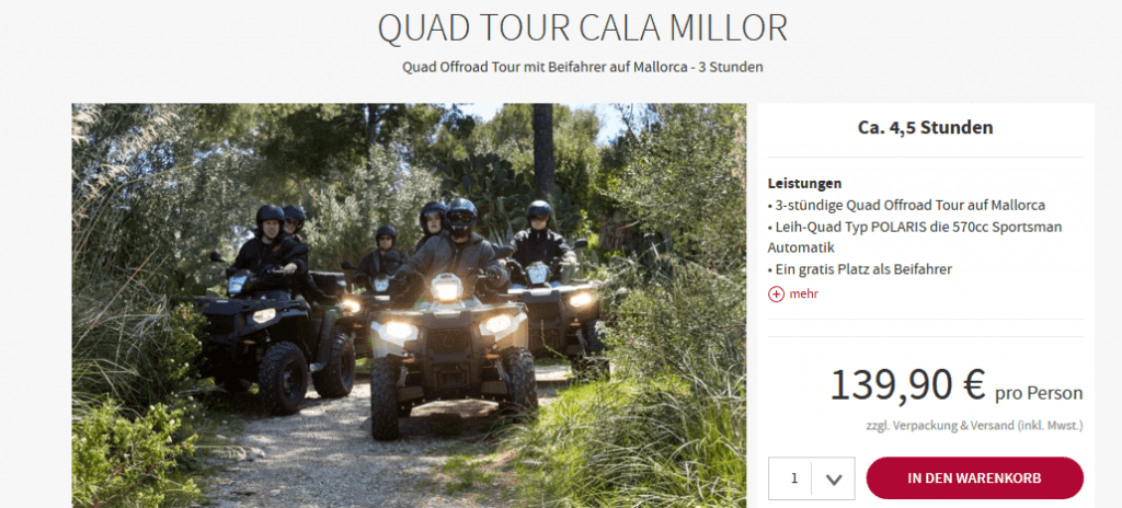 Screenshot Deal Cala Millor - Quad Tour nur 139,90€ Mallorca