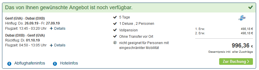 Screenshot Deal Dubai All Inclusive - nur 498,18€ 4 Sterne 5 Nächte